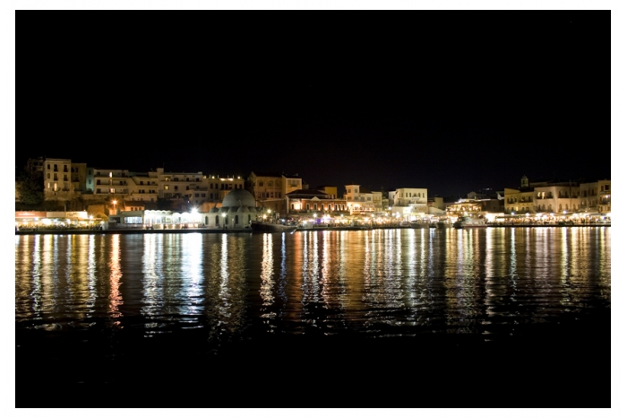 villa chania old harbour at night